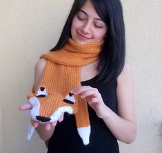 Hand Knitted fox scarf,seamless. $72,00, via Etsy.