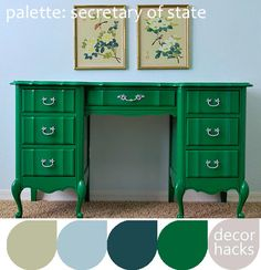 Ever seen those old granny's cream and gold bedroom furniture in a thrift store?  You can paint it bold green to give it an updated look.  This will make a great accent furniture in a simple room.  I would even go as far as change the old scrolly hardware by adding mod clear acrylics.  Now that's style!