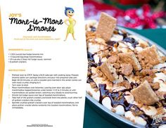 More-Is-More S'mores - Inside Out Recipe Round Up {Disney Parks Copycat Recipes} Disney Themed Food, Disney Inspired Food, Disney Dishes, Disney Desserts, Disney Food Recipes, Disney Drinks, Fun Desserts, Disney Pixar, Disney Parks