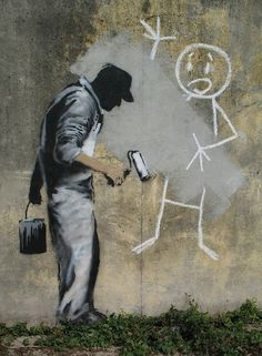 "Banksy - ""Our society is run by insane people for insane objectives. I think we're being run by maniacs for maniacal ends and I think I'm liable to be put away as insane for expressing that. That's what's insane about it."""