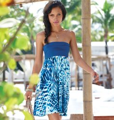 mark Change Your Ways Dress - Pack one dress, get three looks—it's the ultimate vacation piece! Not on vacay? The gorgeous blue and white swirled print inspired by, say, the shimmering waters of Saint Barts, makes you feel like you are! Cotton/spandex/polyester. Imported. Regularly $36.00, buy Avon mark products online at www.avonnovi.com