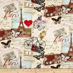 Timeless Treasures Paris Collage Antique from @fabricdotcom  Designed for Timeless Treasures, this cotton print fabric is perfect for quilting, apparel and home decor accents. Colors include red, aqua, pine, soft black, blue and beige.
