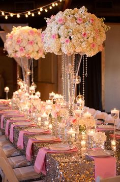 Glam wedding reception decor - pink, + gold reception tables with tall floral centerpieces + sequin table linens {Smith Studios Photography}