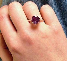 Alexandrite Basket-set Ring, 10mm Color Change Alexandrite Statement Ring in Polished Sterling Silve