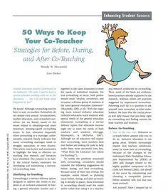 50 Ways to Keep   Your Co-Teacher  Strategies for Before, During,  and After Co-Teaching.