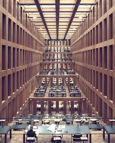 Jacob and Wilhelm Grimm Zentrum, the new library of Humboldt's University, designed by the architect Max Dudler. Belin, Germany.  https://www.facebook.com/pages/Xavier-Duran-Photographer/367782326664508