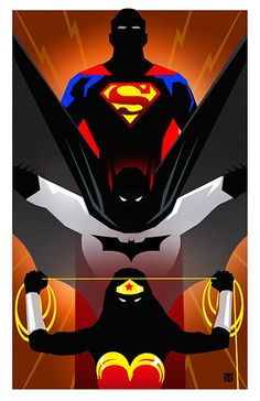 virginiagentlenerd:  thehappysorceress:  DC Trinity by Tony Dela Cruz Print available at ECCC  Somebody going to ECCC wanna be a bro and buy me one of these? I will pay you back in actual money or sexual favors.