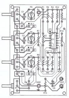 audio mixer parts placement Electronics Projects, Diy Electronics, Subwoofer Box Design, Speaker Box Design, Diy Amplifier, Electronic Schematics, Audio Design, Circuit Diagram, Channel