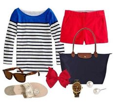 You can never go wrong with red, white and blue! #preppy #America