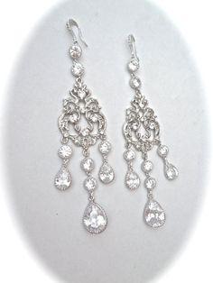 Long Cubic Zirconia chandelier earrings  4 by QueenMeJewelryLLC