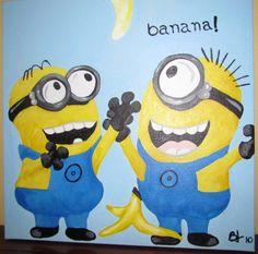 Minions...banana!  (acrylic paint)