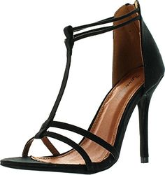 Bonnibel Rosita2 Womens TStrap Back Zipper Ankle Strap Stiletto Dress SandalsBlack9 * This is an Amazon Affiliate link. You can get more details by clicking on the image.