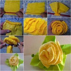 ARTE COM QUIANE - Paps,Moldes,E.V.A,Feltro,Costuras,Fofuchas 3D: passo a passo flor de papel crepom amassadinha