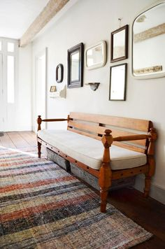 For the entry: bench seat with baskets underneath. Chairloom: Antique wooden bench converted from a childs bed after. With storage bins from Hable Construction underneath. Entry Bench, Entry Hallway, Entrance Hall, Foyer, Bench With Storage, Storage Bins, Storage Benches, Upcycled Furniture, Furniture Making