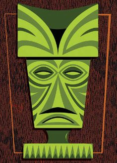Image detail for -Green Tiki Mask Magnet - Poster and Print