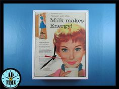 Items similar to Milk Makes Energy Clock, Vintage Mid Century Modern Advertisement, Handmade, Custom Order! on Etsy Big Chill, Retro Home Decor, Vintage Ads, Vintage Kitchen, Mid-century Modern, 1950s, Milk, Mid Century, Clock