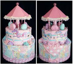 Carousel Diaper Cake www.facebook.com/DiaperCakesbyDiana