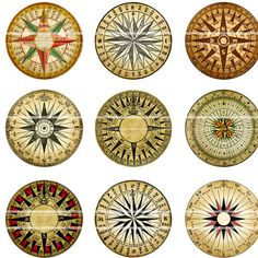 Mariner's Rose Compass digital collage sheet 1 inch by magicpug