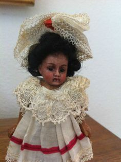 Antique Black African American Bisque Head Miniature Doll House Doll