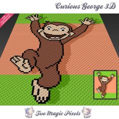 Curious George 3D crochet blanket pattern; c2c, knitting, cross stitch graph; pdf download; no written counts or row-by-row instructions by TwoMagicPixels, $3.79 USD