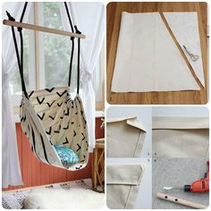 Come fare una sedia sospesa – Tutorial A Tutorial with and directions to make a suspended chair, of those that are hung with a hook to the ceiling, Hammock Swing Bed, Backyard Hammock, Diy Hammock, Hammocks, Diy Projects For Bedroom, Bedroom Crafts, Projects To Try, Diy Crafts Hacks, Diy Crafts For Kids