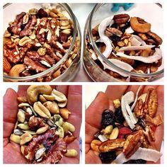1- mix salgado: castanha do pará, castanha de caju, amêndoas, amendoim, sementes de abóbora, sementes de girassol, soja torrada. // 2 - mix agridoce: sementes de abóbora, castanha de caju, amendoim, nozes pecã, cacau nibs, goji berry, uvas passas, maças desidratadas em cubos, coco em fita.