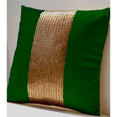 Amore Beaute Handmade Throw Pillows- Green Gold Color Block in Art... (2,510 INR) via Polyvore featuring home, home decor, throw pillows, green throw pillows, handmade home decor, emerald throw pillow, gold throw pillows and gold home decor