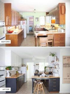 Eclectic Kitchen Renovation-before and after. Dark base cabinets and white upper… Eclectic Kitchen Renovation-before and after. Dark base cabinets and white uppers. Home Staging, Home Renovation, Home Remodeling, Kitchen Remodeling, Remodeling Contractors, Cheap Renovations, Cheap Kitchen Remodel, Sweet Home, Eclectic Kitchen