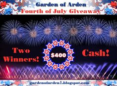 TWO winners will WIN $400 in the Garden of Arden Fourth of July Giveaway!! Enter to win here: gardenofarden1.blogspot.com