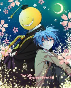 Koro sensei and Nagisa Otaku, Manga Anime, Anime Art, Classroom Memes, Anime Lock Screen, Koro Sensei, Nagisa Shiota, Nagisa And Karma, Anime Muslim