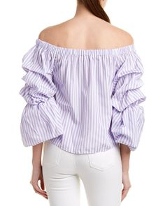 Sleeve Types, Types Of Sleeves, Off Shoulder Blouse, Off The Shoulder, Candy Stripes, Color Patterns, Bubble, Lavender, Ruffle Blouse