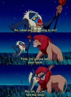 not the stick! / rafiki and simba Disney Pixar, Simba Disney, Disney Lion King, Disney Fun, Disney And Dreamworks, Disney Animation, Disney Magic, Disney Films, Lion King Quotes
