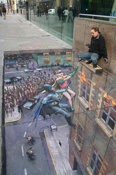 3D chalk drawing ~ by Julian Beever. I would be scared!