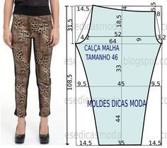 Para quem gosta de vestir um estilo menos formal proponho o molde de calça leop… For those who like to wear a less formal style I propose the leopard pants mold in size 40 in the Portuguese table and Sigue leyendo → Sewing Pants, Sewing Clothes, Diy Clothes, Dress Sewing Patterns, Clothing Patterns, Diy Pantalon, Costura Fashion, Leopard Pants, Pants Pattern
