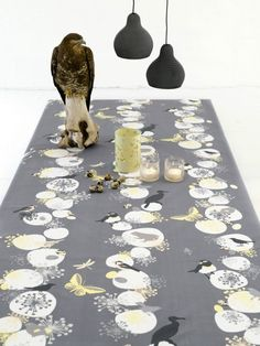 Look at all those birds! Table cloth Birds Mellow Yellow by Susanne Schjerning @Titia Olieman