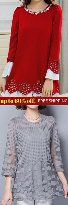 casual fall tunic tops for women: Embellished Neck Long Sleeve Red Blouse Three Quarter Sleeve Gauze Panel Grey Blouse Casual Outfits, Fashion Outfits, Fall Outfits, Fall Tunic, Pretty Outfits, Cute Outfits, Grey Blouse, Grunge, Hipster