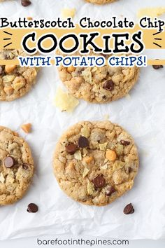 Insanely delicious and easy Chocolate Chip Cookies with Butterscotch and Potato Chips! No chilling and no softened butter needed! This recipe is the perfect combo of sweet and salty and super easy to make. Easy Cookie Recipe | Butterscotch Chocolate Chip Cookies | Potato Chip Cookies Easy Homemade Recipes, Easy Cookie Recipes, Sweet Recipes, Dairy Free Chocolate Chips, Easy Chocolate Chip Cookies, Potato Chip Cookies, Potato Chips, Dessert From Scratch, Fun Desserts