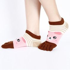 Random Fashion Trainer Cute Casual Cotton Five Finger Toe Socks Cartoon Smile