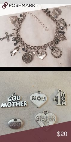 Grandmother bracelet Grandmother charm can be changed for god mother, mom, #1 mom , aunt , or sister... (Pictures shown in 2nd photo)..Please indicate before ordering Ty Jewelry Bracelets