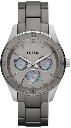 #Fossil #Watch , Fossil Women's ES3040 Stella Grey Aluminum and Stainless Steel Watch