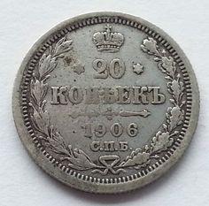 1906 coin silver 20 kopeks Russia Rusland Russie SPB EB C0028