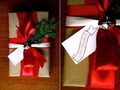 easy christmas gift toppers ideas red bow jingle bell fir branch