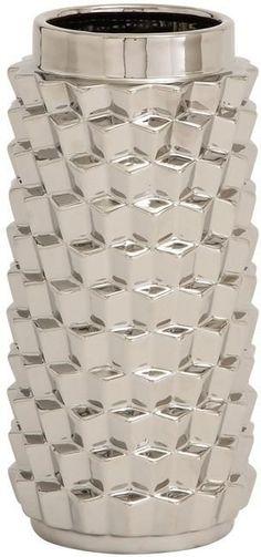 """Bayden Hill Ceramic Silver Vase 7""""W, 14""""H"""