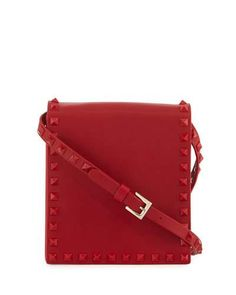 VALENTINO LEATHER ROCKSTUD NORTH-SOUTH SHOULDER BAG, RED. #valentino #bags #shoulder bags #leather #