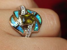 blue fire opal Cz & zircon ring Gemstone silver jewelry Size 7 cocktail C08A #Cocktail