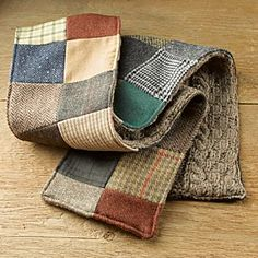 Irish Donegal Tweed Patchwork Scarf-This could be made