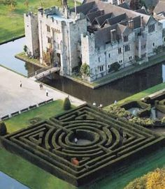 Nice aerial shot of Hever Castle and Maze.