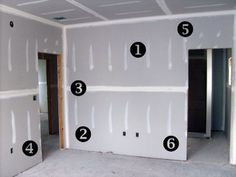 An easy visual guide to the layout and placement of drywall sheets.