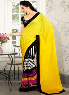 Cbazaar Multicolored And Yellow Half And Half Saree  **From cBazaar Online Store