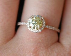 Rose gold engagement ring Yellow Champagne diamond ring 14k rose gold 0.71ct VVS2 diamond ring